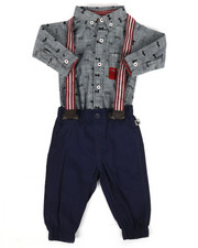 Boys - Bow Tie Print 3Pc Pant Set (0-9Mo)-2293100