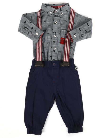 Duck Duck Goose - Bow Tie Print 3Pc Pant Set (0-9Mo)