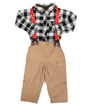 Boys - Check Print 3Pc Pant Set (12-24Mo)-2292881