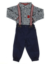 Boys - Bow Tie Print 3Pc Pant Set (12-24Mo)-2292518