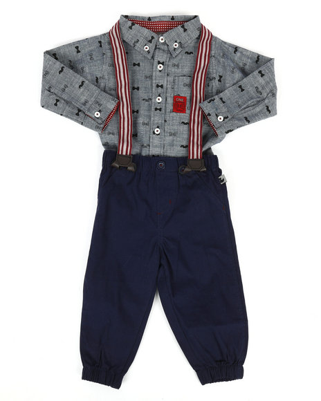 Duck Duck Goose - Bow Tie Print 3Pc Pant Set (12-24Mo)