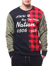 Parish - Buffalo Plaid Patch Work Crew Sweatshirt-2295116