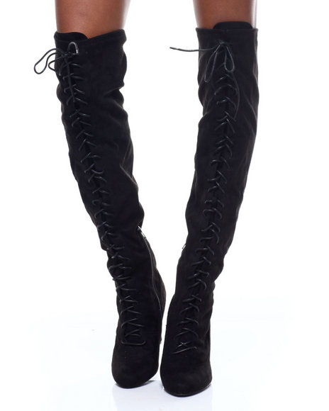 Fashion Lab - Amaya-07 Lace Up Tall Boots