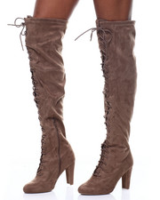 Fashion Lab - Amaya-07 Lace Up Tall Boots-2291244