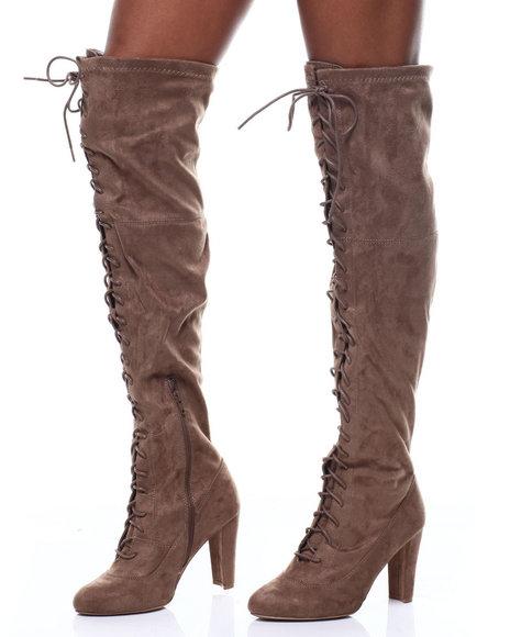 Fashion Lab - Amaya-07 Lace Up Tall Boots
