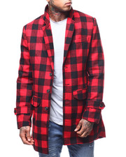 Mens-Holiday - Red & Black Plaid Overcoat-2296595