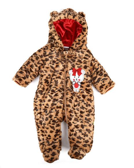 Duck Duck Goose - Leopard Print Faux Fur Padded Pram Suit (Infant)