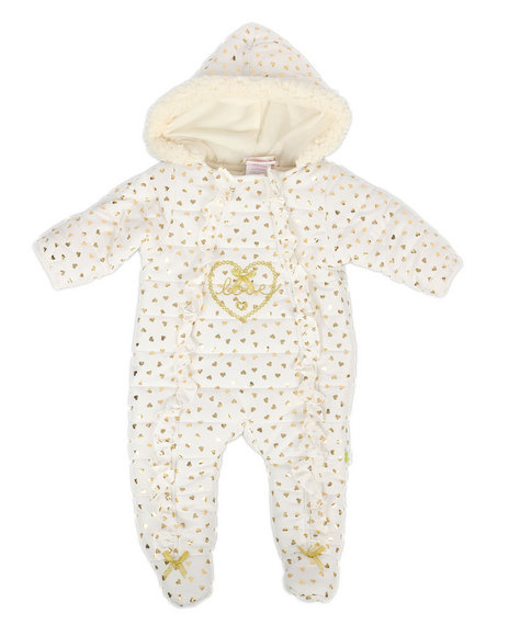 Duck Duck Goose - Love Hearts Foil Print Quilted Pram Suit (Infant)