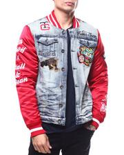 Varsity Jackets - Panther Denim and Satin Varsity Jacket-2297286