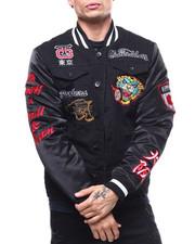 Varsity Jackets - Panther Denim and Satin Varsity Jacket-2297307