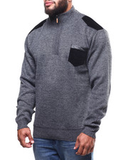 Big & Tall - Shoulder Patch 1/4 Zip Pocketed Sweater (B&T)-2298653