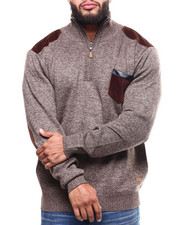 Big & Tall - Shoulder Patch 1/4 Zip Pocketed Sweater (B&T)-2298616