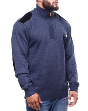 Big & Tall - Shoulder Patch 1/4 Zip Pocketed Sweater (B&T)-2298635