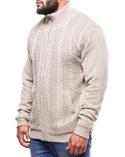 Big & Tall - Full Zip Cable Knit Sweater  (B&T)-2300415