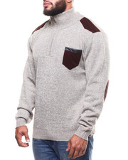 Big & Tall - Shoulder Patch 1/4 Zip Pocketed Sweater (B&T)-2298644