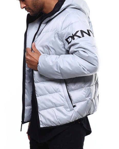 DKNY Jeans - Quilted Logo Hooded Puffer Jacket