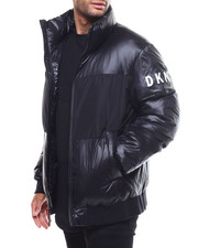 Men - Mixed Media Stand Collar Puffer Jacket-2299080