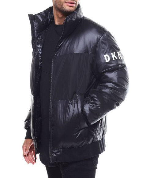 DKNY Jeans - Mixed Media Stand Collar Puffer Jacket