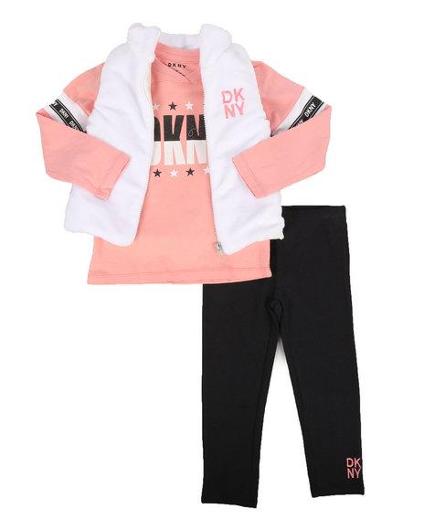 DKNY Jeans - 3 Piece Mock Neck Vest & Legging Set (4-6X)