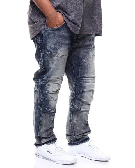 SMOKE RISE - Stretch Denim Moto w/ Knee Treatment Jean (B&T)