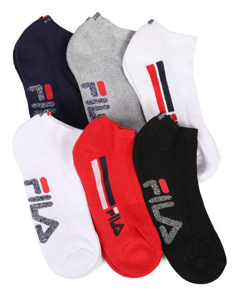 Fila - 6 Pack Heritage Logo Stripe Low Cut Socks