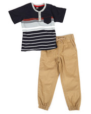 Arcade Styles - Color Block Knit Top & Twill Jogger Set (4-7)-2298929
