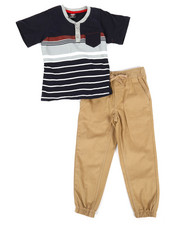 Arcade Styles - Color Block Knit Top & Twill Jogger Set (8-20)-2299169