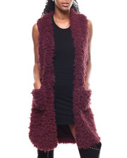 Women - Long Faux Fur Vest-2301113