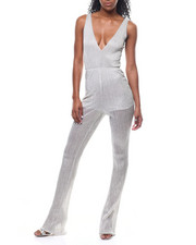 Fashion Lab - S/L V-Neck Sheer Lined Jumpsuit-2301074