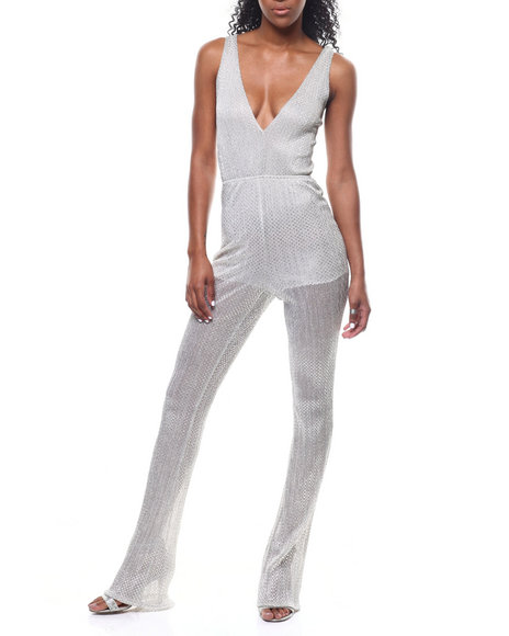 Fashion Lab - S/L V-Neck Sheer Lined Jumpsuit