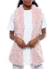 Women - Hook & Eye Exposure Faux Fur Vest-2301088