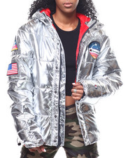 Womens-Winter - Metallic Puffer Jacket-2293525