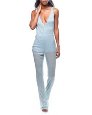 Womens-Party-Looks - S/L V-Neck Sheer Lined Jumpsuit-2300998