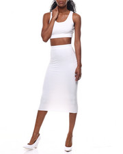Sets - Lattice Back Crop Top/Midi Skirt Set-2301054