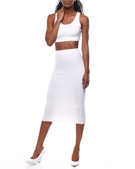 Fashion Lab - Lattice Back Crop Top/Midi Skirt Set