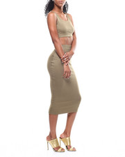 Sets - Lattice Back Crop Top/Midi Skirt Set-2301070
