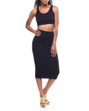 Fashion Lab - Lattice Back Crop Top/Midi Skirt Set-2301034