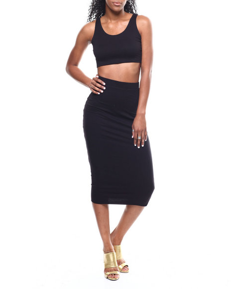 Fashion Lab - Lattice Back Crop Top/Midi Skirt Set