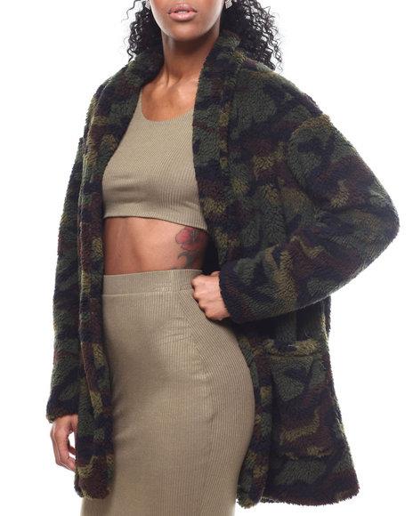Fashion Lab - Camo Printed Sherpa Jacket