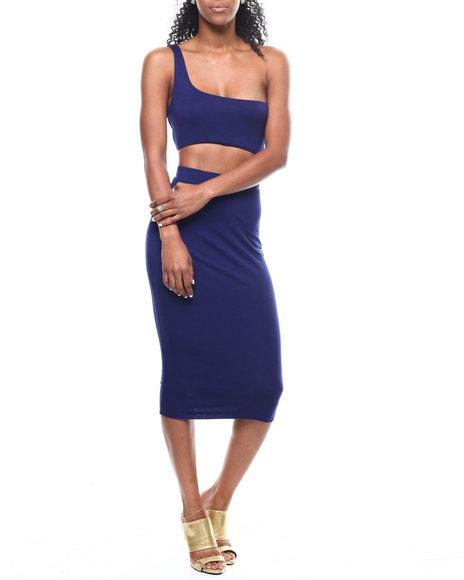 Fashion Lab - 1 Shoulder S/L Crop Top/Midi Skirt Set