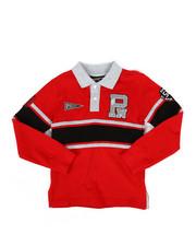 Boys - Long Sleeve Stripe Rugby Polo Shirt (4-7)-2300339