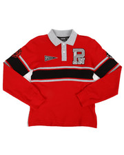 Boys - Long Sleeve Stripe Rugby Polo Shirt (8-20)-2300344