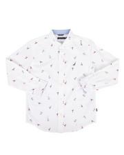 Boys - Mika Stretch Buoy Print Poplin Shirt (8-20)-2300349