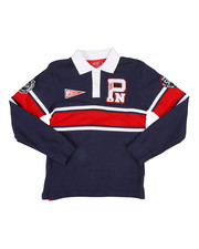 Polos - Long Sleeve Stripe Rugby Polo Shirt (8-20)-2300325