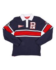 Boys - Long Sleeve Stripe Rugby Polo Shirt (8-20)-2300325