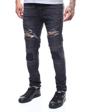 Jeans & Pants - MOTO STRETCH JEAN W BLOWN OUT KNEE-2303397
