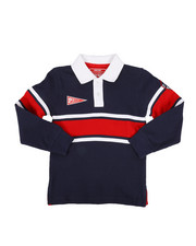 Tops - Long Sleeve Stripe Rugby Polo Shirt (4-7)-2300330
