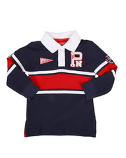 Tops - Long Sleeve Stripe Rugby Polo Shirt (2T-4T)-2300321