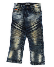 Bottoms - Heavy Blasted Stretch Moto Denim Jeans (2T-4T)-2302589