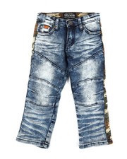 Bottoms - Washed Stretch Denim Jeans w/ Twill Camo Taping (2T-4T)-2302650